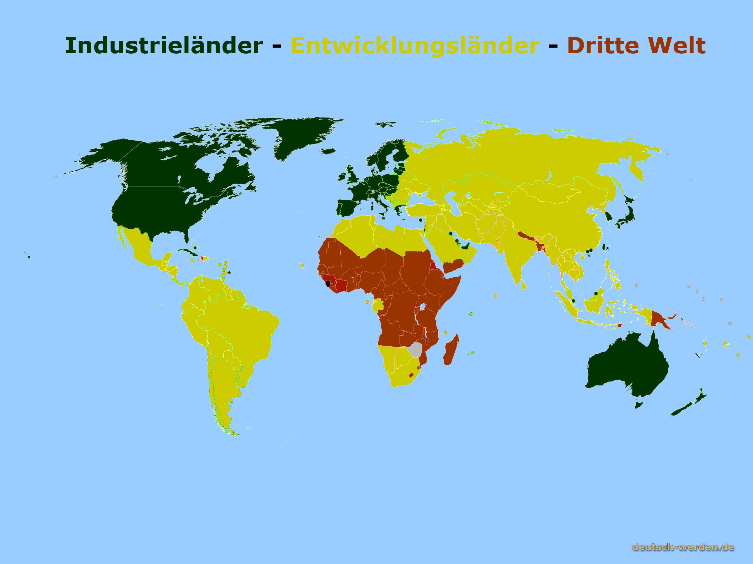 entwiclungslnder industrielnder und dritte welt auf karte - Entwicklungslander Beispiele