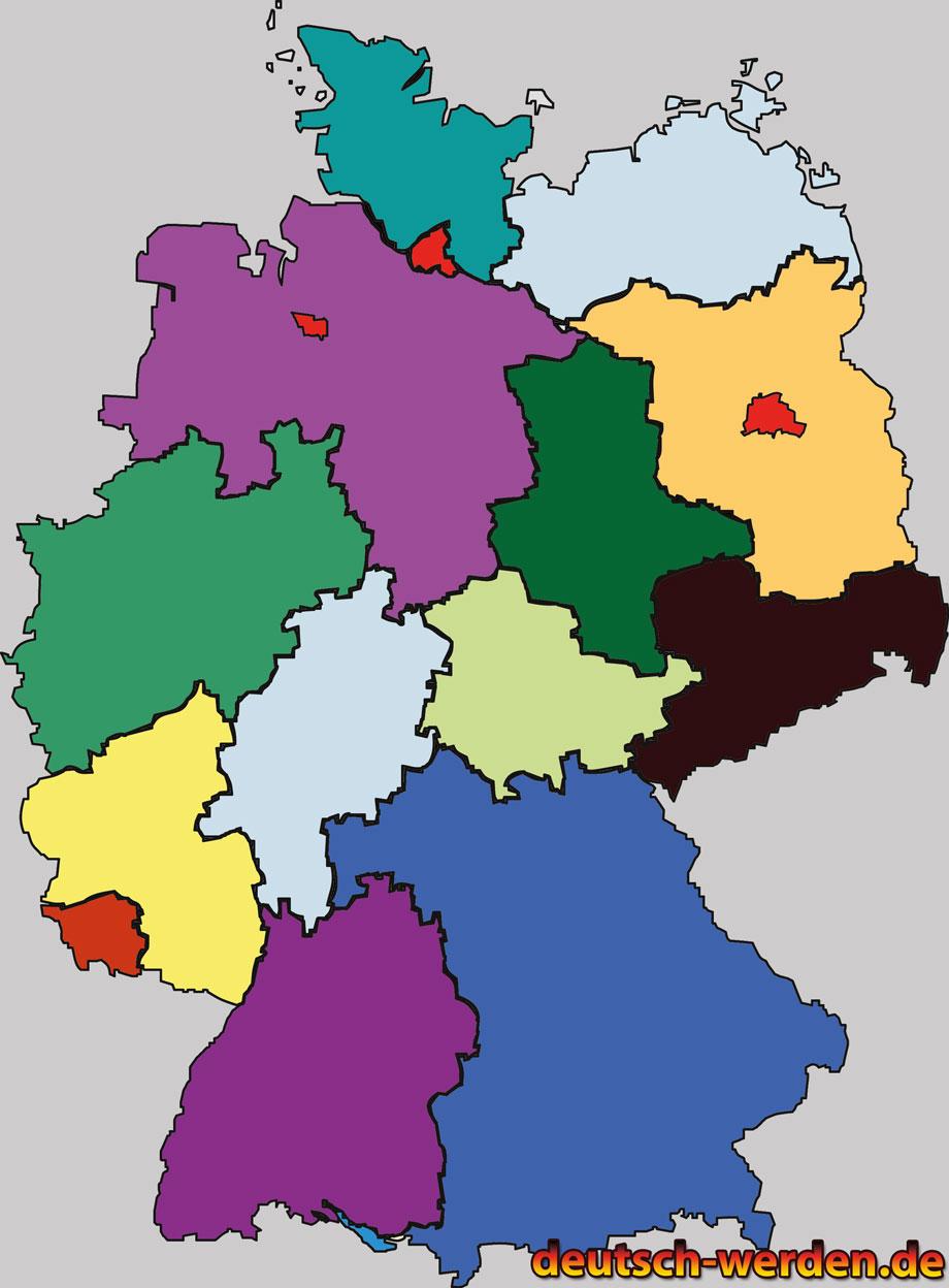 Verschiedene Deutschland Karten - Bunt, Leer, mit/ohne ... - Bundesrepublik Deutschland Bundesländer Karte