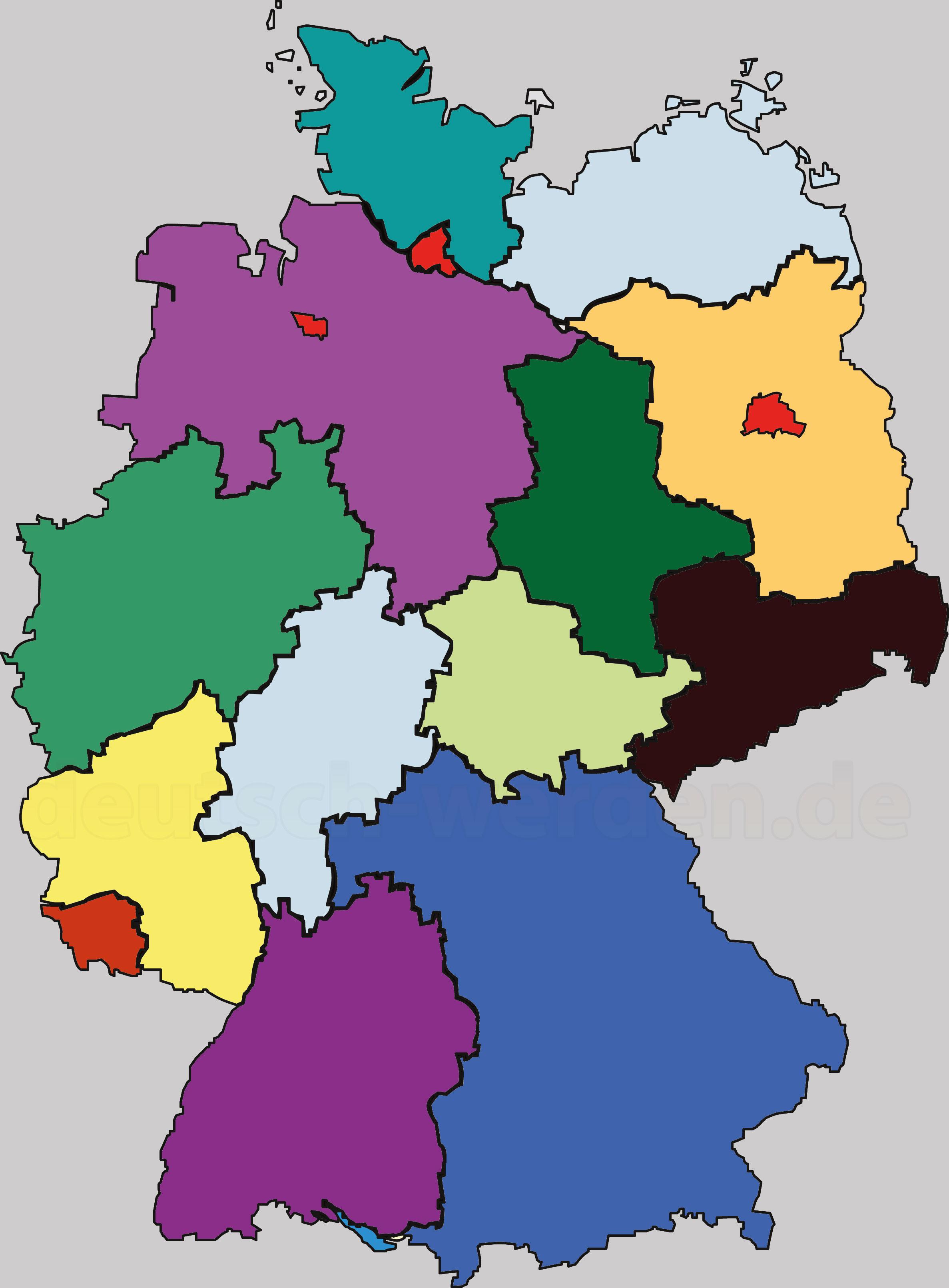 bundesländer karte leer Verschiedene Deutschland Karten   Bunt, Leer, mit/ohne  bundesländer karte leer