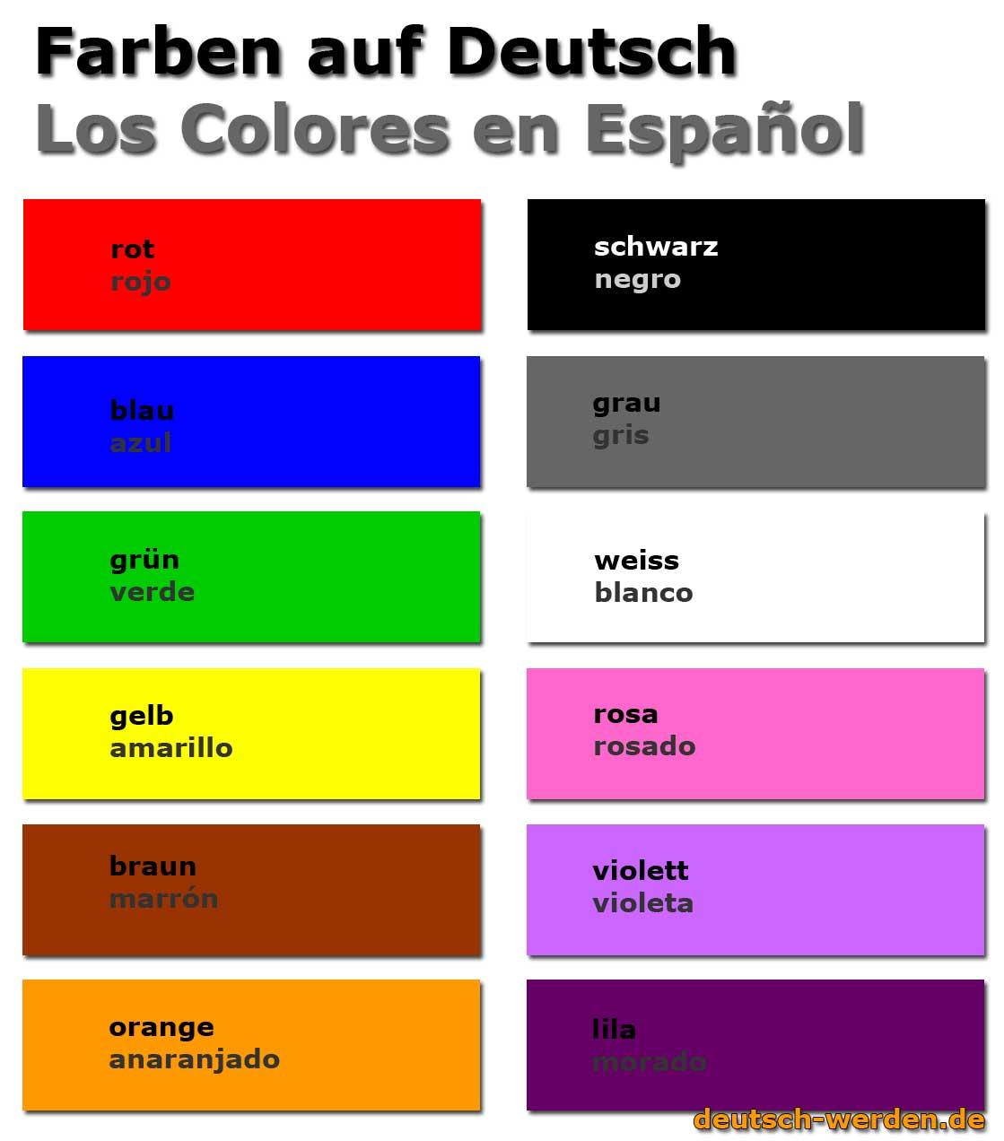farben auf deutsch und spanisch los colores en alem225n y