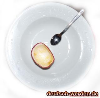Maracuja schon gegessen.. leere Schale