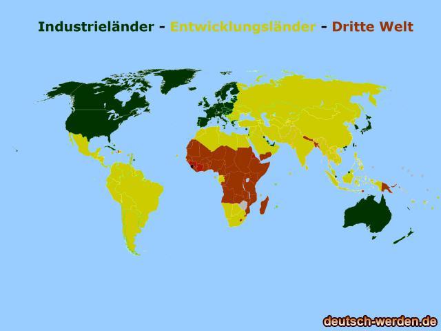 Entwiclungsländer, Industrieländer und Dritte Welt auf Karte
