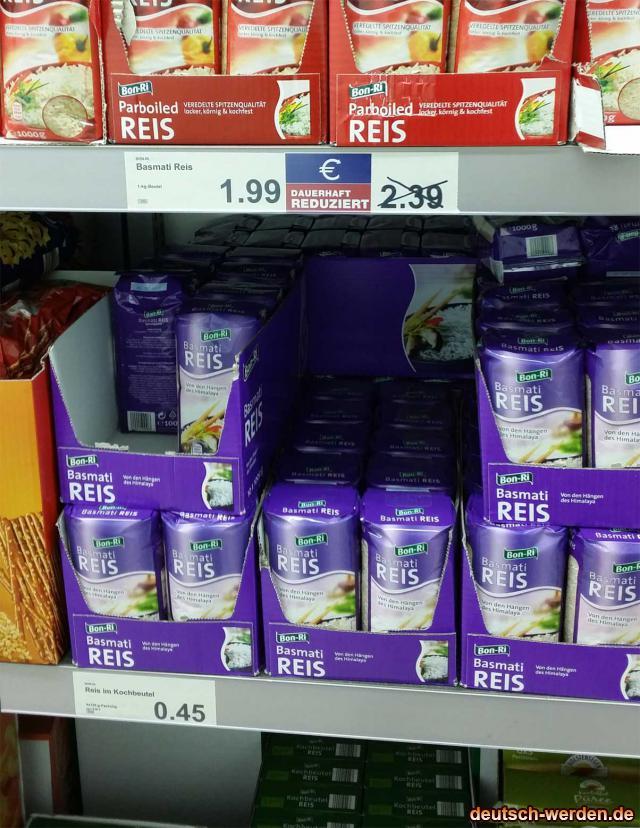 Basmati Reis dauerhaft reduziert