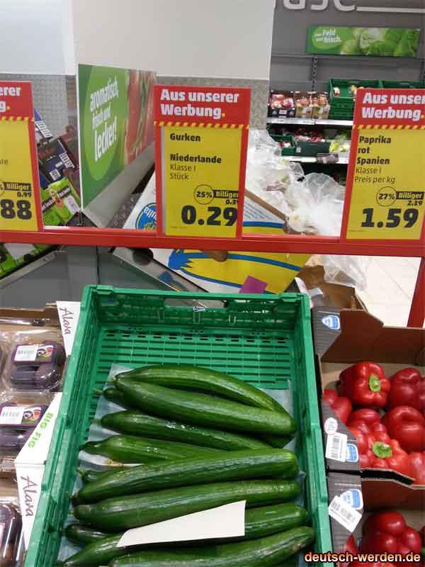 A Ware Gute Gurken für 29 Cent bei deutschen Supermarkt