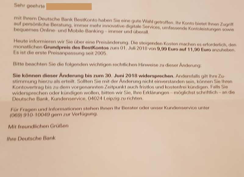 Deutsche Bank erhöht Preise, wird zu teuer. Macht Sinn Bank zu wechseln?