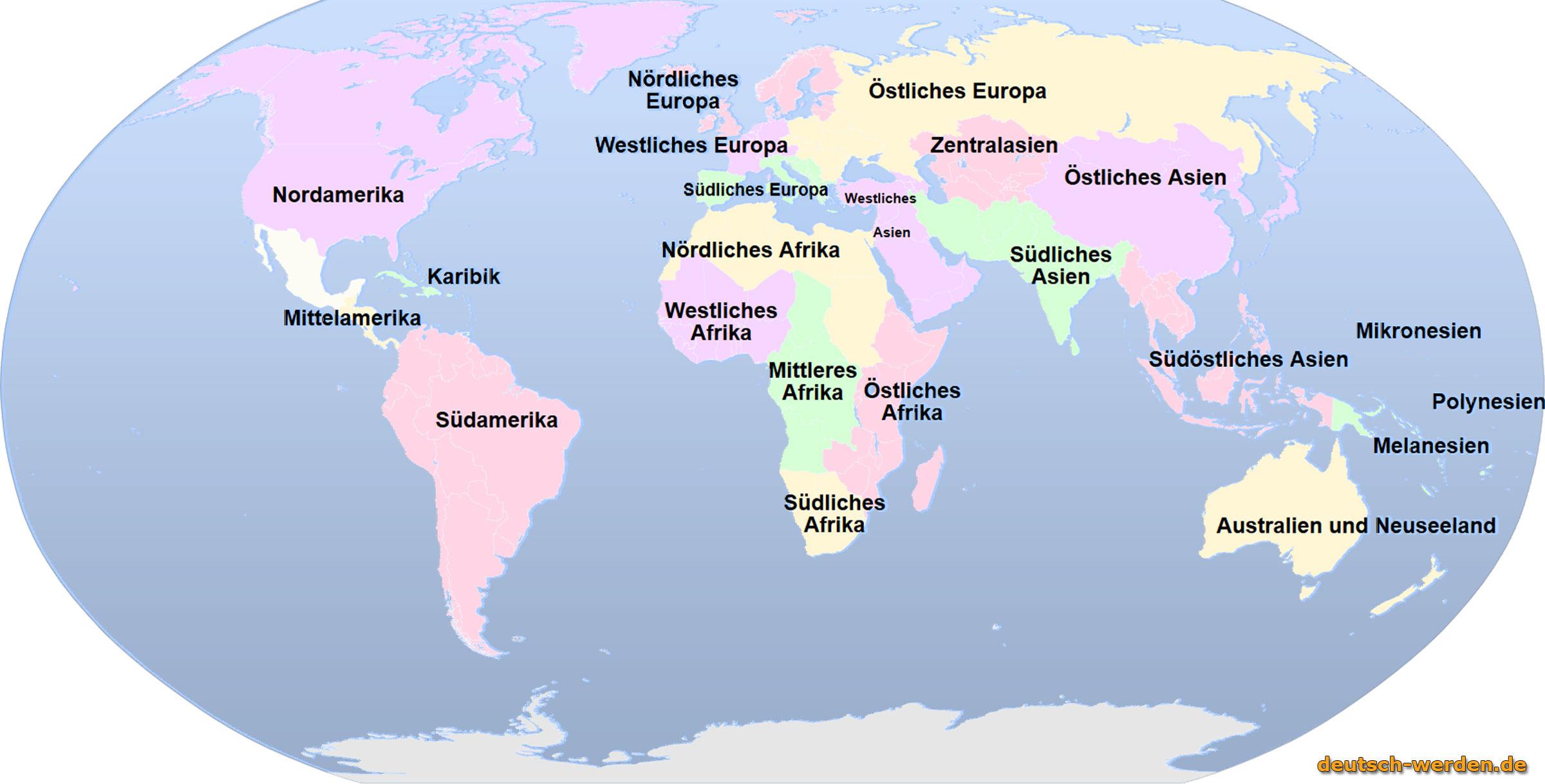 kontinente und subkontinente und regionen - Entwicklungslander Beispiele