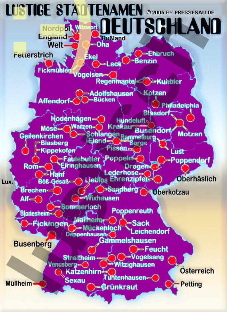 Lustigsten Städtenamen Deutschland